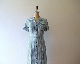 1940s shirt dress . 40s plaid day dress