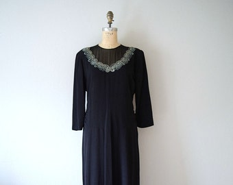 Black 1940s dress . vintage 40s soutache dress