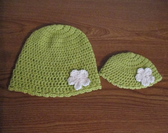 """Matching Crocheted Hats for 18"""" American Girl Dolls - also fits Bitty Baby -  and Girls Lime Green with white flowers"""