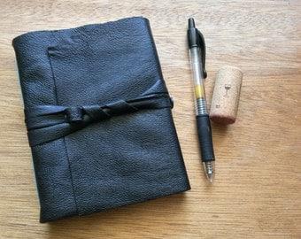 Black Leather Travel Journal-Handmade-Gift Idea-Sketch Book