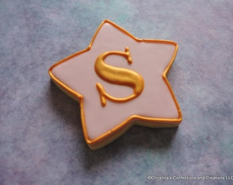 Large Hand Decorated Star Sugar Cookie with Gold Luster Monogram