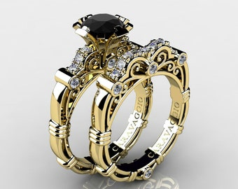 Art Masters Caravaggio 18K Yellow Gold 1.0 Ct Black and White Diamond Engagement Ring Wedding Band Set R623S-18KYGDBD