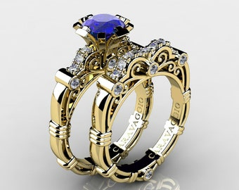 Caravaggio 14K Yellow Gold 1.0 Ct Natural Blue Sapphire Diamond Engagement Ring Wedding Band Set R623S-14KYGDNBS