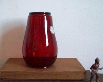 Vintage Dietz red glass lantern globe NOS original foil sticker perfect condition