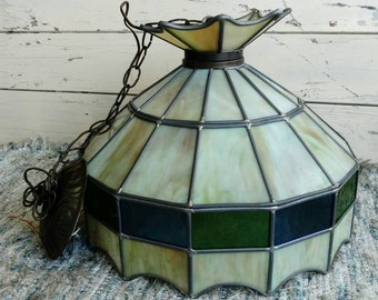Vintage Stained Glass Lamp Shade or Replacement Globe - Antique Hallway /  Kitchen Lighting + Decor, Blue + Green
