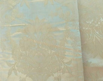 "Antique Ivory Brocade Yardage - Vintage Antique White Satin Like Decor Fabric, Brocade Material, Home Decorative Sewing Fabric, 48.5""-202"""