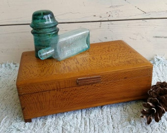 Vintage Jewelry Box Made From Tiger Wood - Beautiful Handcrafted Hinged Wooden Dresser + Box Jewelry, Decorative Wooden Box, Dresser Caddy