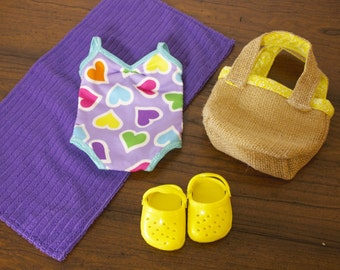 American Girl 18 inch doll BEACH Outfit, doll clothes, swimsuit, towell, beach bag, summer, vacation, SALE shoes included