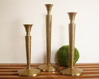 Brass Candlesticks, Vintage Modern Trio, Ringed Candle Holders, Vintage Brass, Hollywood Regency Glam Mantle Decor
