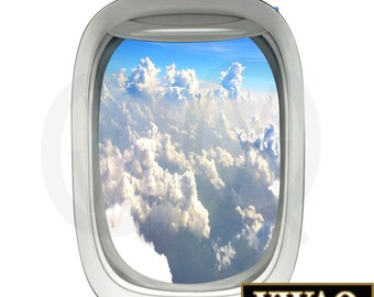 Aerial View Clouds Airplane Window Decal Clouds Vinyl Decal View Mural Peel and Stick Aviation Decor PW18