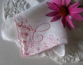 Bridal Hanky Monogrammed C in Ivory with Rose Gold Pink Wedding Handkerchief Bridal Shower Gift Something Old Keepsake
