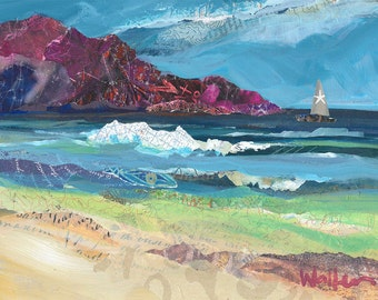 Ocean Beach with Sail Boat, original painting in mixed media