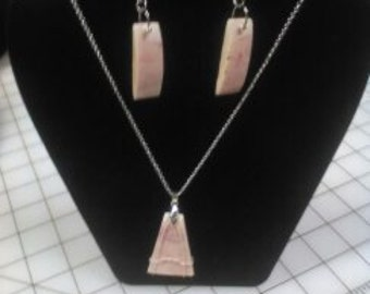 Pink Camel Bone Pendant & Earrings