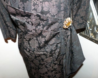 Antique French black brocade dress handmade floral dress w rhinestone brooch pin, 1900s steampunk gothic dress vintage clothing from France