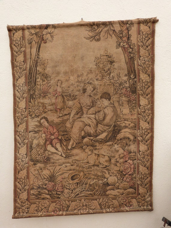 Antique French Large Tapestry Wall Hanging Art Decor 1900s