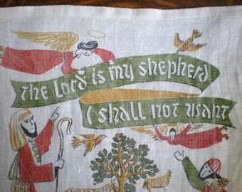 1964 Calendar Dish Towel, Robert Darr Wert, Lord is My Shepherd I Shall not Want, 100% linen Kitchen Wall Hanging,Spiritual comfort Psalm 23
