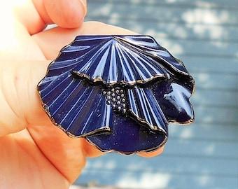 Dark Blue Ceramic Dress Clip 1930's Art Deco
