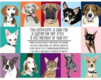 A gift certificate for a custom pop art portrait of a pet- DIGITAL DOWNLOAD