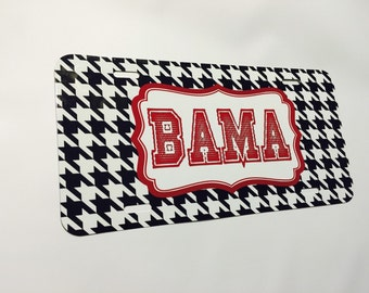 personalized car tag- bama fans, alabama, monogrammed tags,black and white, houndstooth or Moroccan pattern, car name tag, holiday gifts
