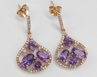 14K Pink Rose Gold Diamond and Amethyst Cluster Halo Dangle Drop Earrings