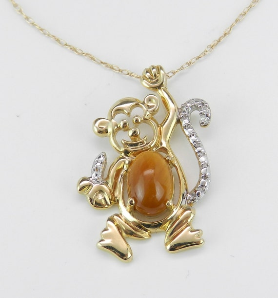 """Diamond and Tiger Eye Monkey Drop Pendant Necklace 18"""" Chain Yellow Gold"""