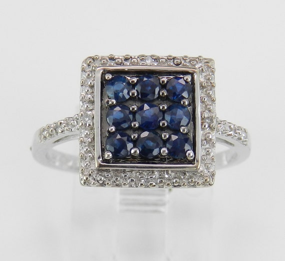 Diamond and Blue Sapphire Cocktail Cluster Ring Size 7 September Gem White Gold