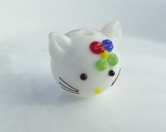 18mm. Lampwork Cat Beads, Cat with Flower Glass Beads, S37
