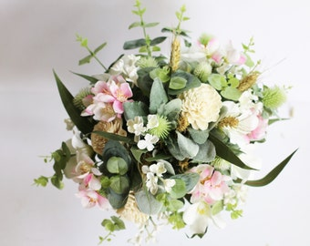 Cherry - Bridal bouquet, country garden.  Cream, mauve and green.  Thistle, lilac, cherry blossom, wheat, sola flowers and foliage.