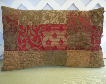 Lumbar Pillow Cover Red Olive Gold Chenille Print / Red Olive Pillow / Chenille Pillow /Accent Pillow / Decorative Pillow / 14 x 22 Pillow