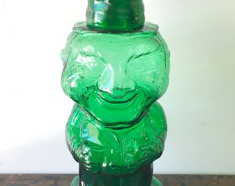 Vintage Tiara Glass Emerald Green Jolly Mountaineer Tumble Up Decanter with Shot Glass