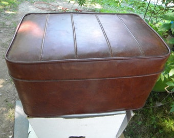 great shape clean vintage large heavy 1960s 70s VINYL HASSOCK foot stool  free shipping