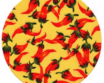 Yellow Chili Pepper Fabric Covered Mouse Pad Mousepad Mat
