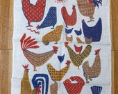 Mid Century Chicken & Rooster Linen Kitchen Towel or Wall Hanging