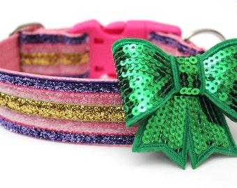 Dog Collar Bow Add-On Orange Purple Green or Neon Pink