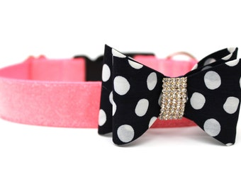 """Dog Collar Bow Add-On Polka Dot Bow for Dogs FOR 1"""" BUCKLE COLLAR"""
