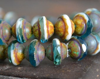 25 Czech Saturn - Blue Capri with Picasso Finish - 8x10mm - Czech Glass UFO Shape Beads - Opaque White and Fire Polished Blue