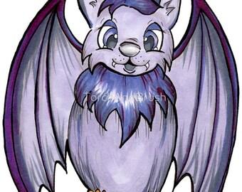 Cute Halloween Bat - OOAK Original Copic Marker Illustration
