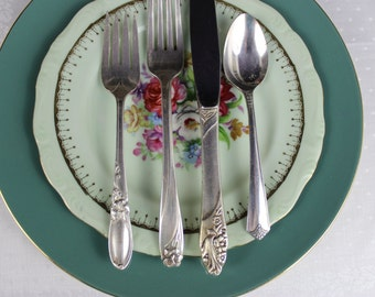 Mismatched China with Silverware Vintage Tablesetting Cottage Chic