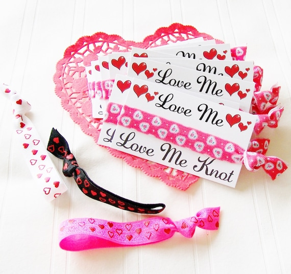 Valentine's Day Card Set Non Food Valentine hair tie valentines hair ties ponytail gift for girl class tween women gift bag doily