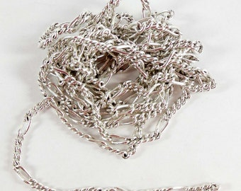 Vintage Chain, Jewelry Chain, Figaro Chain, Silver Plate, Antique Silver, Jewelry Making, B'sue Boutiques, About 5 Continuous Feet,Item08210