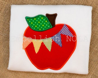Apple with Colorful Pennant Applique Monogram Shirt Back to School Shirt