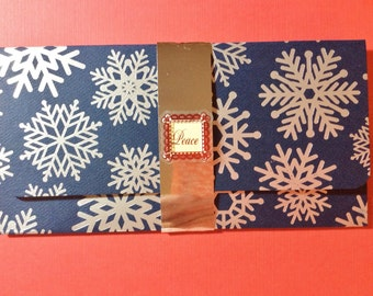 Christmas Money/Gift Card/Check Holder, Handmade, Navy Blue, Silver/ Snowflakes