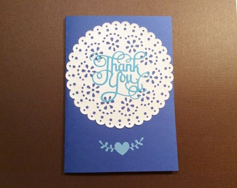 Handmade, Thank You Card, Blue, White, Phrase Inside, Doily, Heart