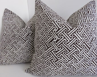 Fretwork Pillow Cover, Brown Pillow Cover, White & Brown Pillow, Cross Brown Pillow, Decorative Pillow, Pillow Cover, Accent Home