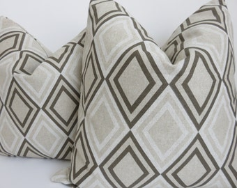 SALE!! Pair  Pillow covers,Beige Pillow, Geometric Pillow , Brown Pillow cover, Light brown pillow, Pillow Cover, Pillow
