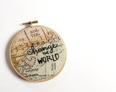 """change the world embroidered hoop, appliqué heart, map fabric, 4"""""""
