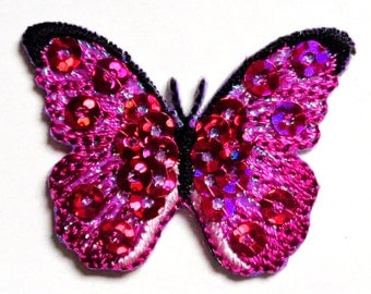 SEQUIN BUTTERFLY FUCHSIA irn on applique