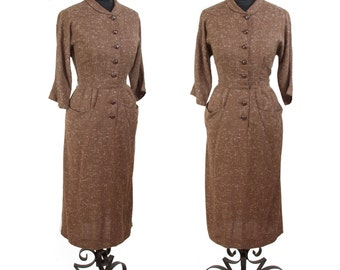 1950s Dress // Brown and Ivory Wiggle Dress