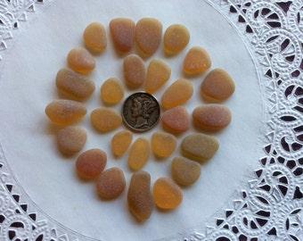 25 Golden Butterscotch Amber Beach Sea Glass BY-A14-26-A