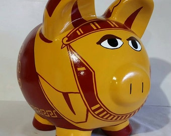 College Piggy Bank, Personalized, College Mascot piggy bank - MADE TO ORDER